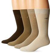 Cutter & Buck Men's 4 Pack Knit Crew Socks, Navy, 10-13/Shoe Size 6-12