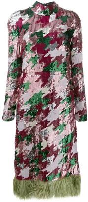 La DoubleJ Gala feather-trim sequinned dress