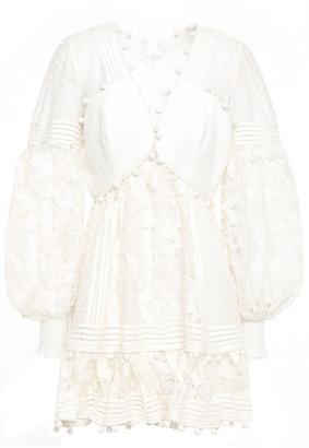 Zimmermann Gauze-paneled Cotton And Silk-blend Lace Mini Dress
