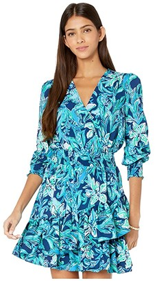Lilly Pulitzer Cristiana Stretch Dress (High Tide Navy Take It Or Leaf It) Women's Dress