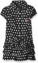 U.S. Polo Assn. Baby Heart Print Belted Tiered Ruffle Denim Dress