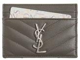 Saint Laurent Women's 'Monogram' Credit Card Case - Grey