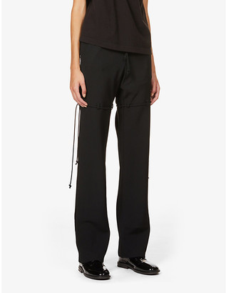 Song For The Mute Self tie-trim straight-leg high-rise wool-twill trousers