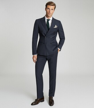 Reiss Villa - Wool Double Breasted Blazer in Navy