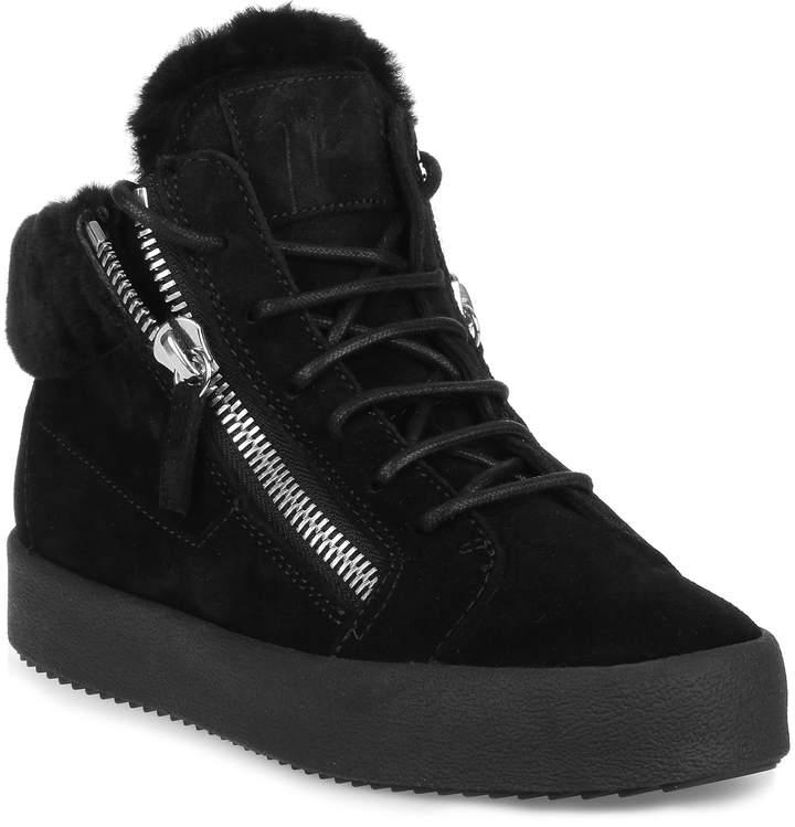 Giuseppe Zanotti Kriss black suede shearling sneaker