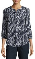 NYDJ 3/4-Sleeve Printed Pleated-Back Blouse, Feather Chevron
