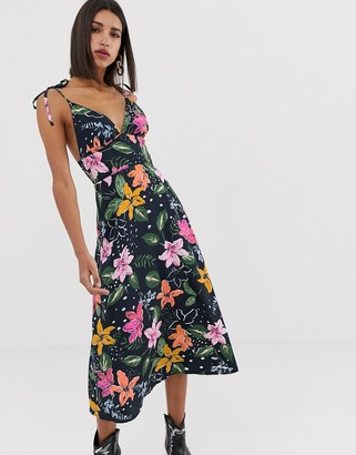 Neon Rose midi cami dress with tie shoulders in tropical floral print-Navy