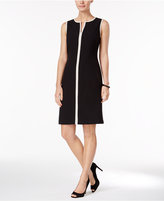 Kasper Contrast-Trim Sheath Dress