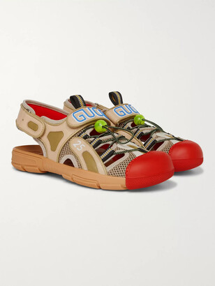 Gucci Tinsel Logo-Detailed Rubber, Leather And Mesh Sandals - Men - Red