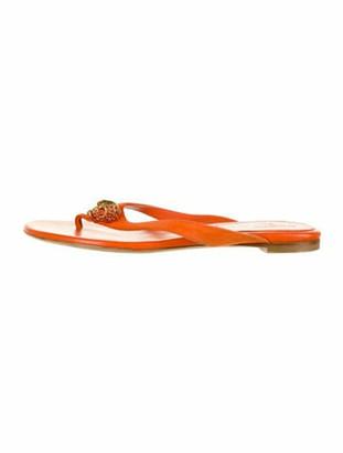 Alexander McQueen Leather Crystal Embellishments Flip Flops Orange