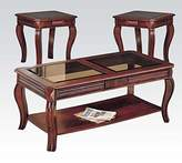 Acme 3 Piece Occasional Cherry Table Set with Glass by Furniture
