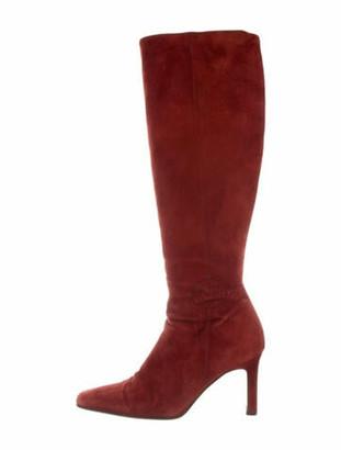 Chanel Interlocking CC Logo Suede Boots Red