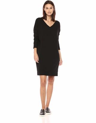 Daily Ritual Amazon Brand Women's Terry Cotton and Modal V-Neck Drop-Shoulder Sweatshirt Dress