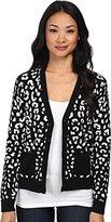 C&C California Women's Leopard Jacquard Print Sweater Cardigan