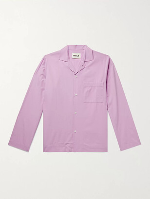 Tekla Convertible-Collar Stonewashed Organic Cotton-Poplin Pyjama Shirt