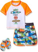 Wippette Toddler Boys Pop Camo with Shark Rash Guard Set