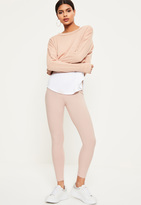 Missguided Petite Exclusive Pink Ribbed Leggings