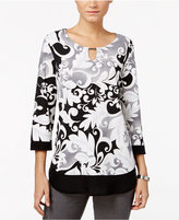 JM Collection Petite Printed Keyhole Layered-Look Top, Only at Macy's