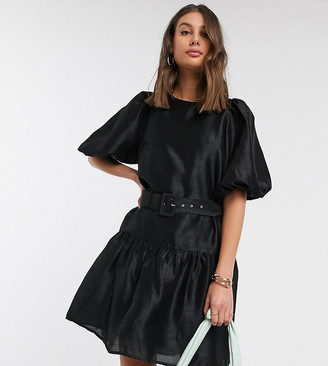 Vero Moda Tall smock dress with puff sleeves and belt in black