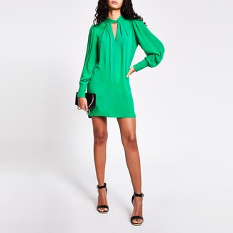 River Island Womens Green twisted cut out neck mini swing dress