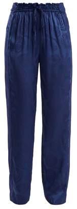 Peter Pilotto High Rise Floral Jacquard Satin Trousers - Womens - Blue Print
