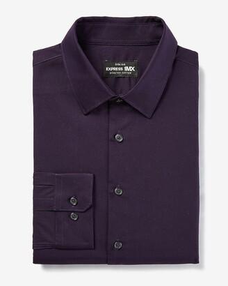 Express Extra Slim Solid Stretch Cotton 1Mx Dress Shirt