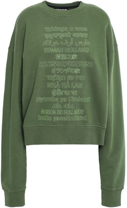 House of Holland Embroidered French Cotton-terry Sweatshirt