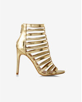 Express metallic braided cage sandal