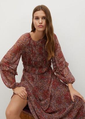 MANGO Floral Print Ruched Midi Dress, Rust/Copper