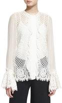 Alexis Amilina Long-Sleeve Lace Silk-Trim Top