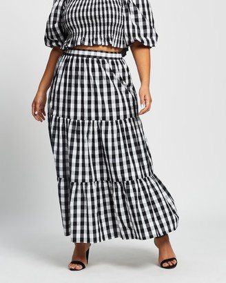Atmos & Here Atmos&Here Curvy - Women's Black Maxi skirts - Jayne Cotton Skirt - Size 18 at The Iconic