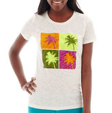 JCPenney STYLUS Stylus Short-Sleeve Slub Knit Graphic T-Shirt -Petite