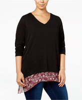 Style&Co. Style & Co. Plus Size V-Neck Layered-Look Top, Only at Macy's