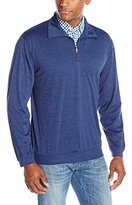 Haggar Men's Long Sleeve Quarter Zip Marled Effect Polo