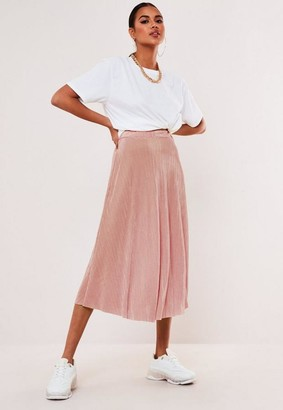 Missguided Pink Plisse Midi Skirt