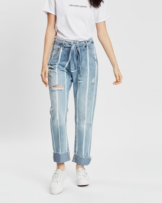 DRICOPER DENIM - Women's Blue Wide leg - Tailored Stripe Jeans - Size One Size, 7 at The Iconic