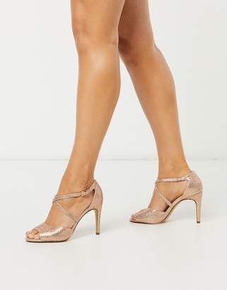 Dune madeline wedding high heeled sandals in gold glitter