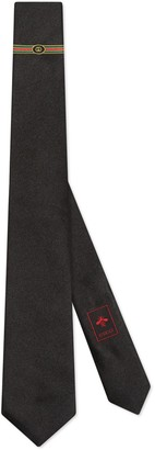 Gucci Silk tie with Interlocking G Web