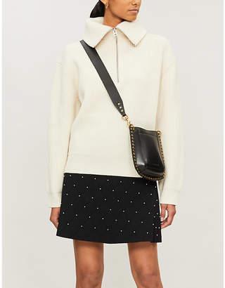 Sandro Pearl-embellished stretch-knit mini skirt