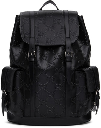 Gucci Black GG Embossed Backpack