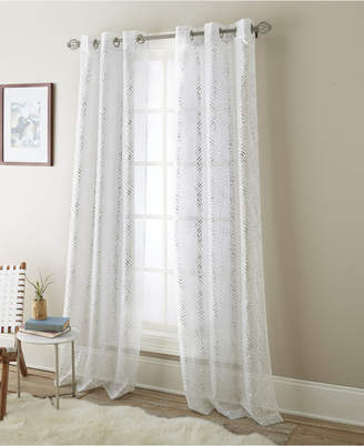 "Prisma Semi Sheer Grommet Curtain Panel Pair, White/Metallic, 37 x 84"""
