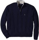 U.S. Polo Assn. Men's Big-Tall Cable-Knit Sweater with Sherpa Collar Lining