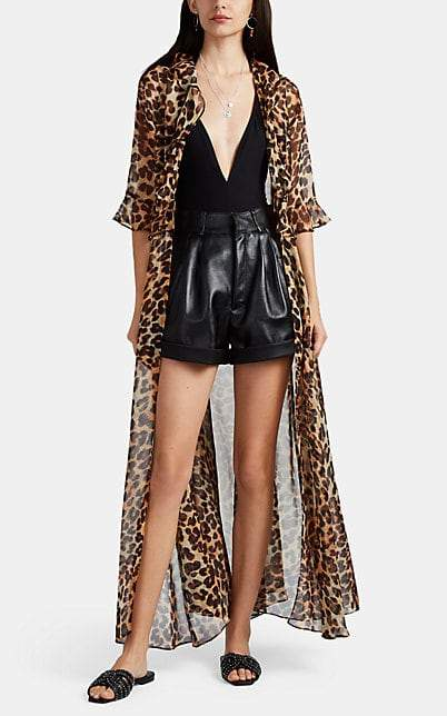 Leone WE ARE Women's Leopard-Print Silk Maxi Robe - Brown
