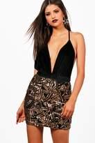 boohoo Brooke Geometric Sequin Mini Skirt