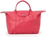 Longchamp Pink Le Pliage Cuir Medium Satchel