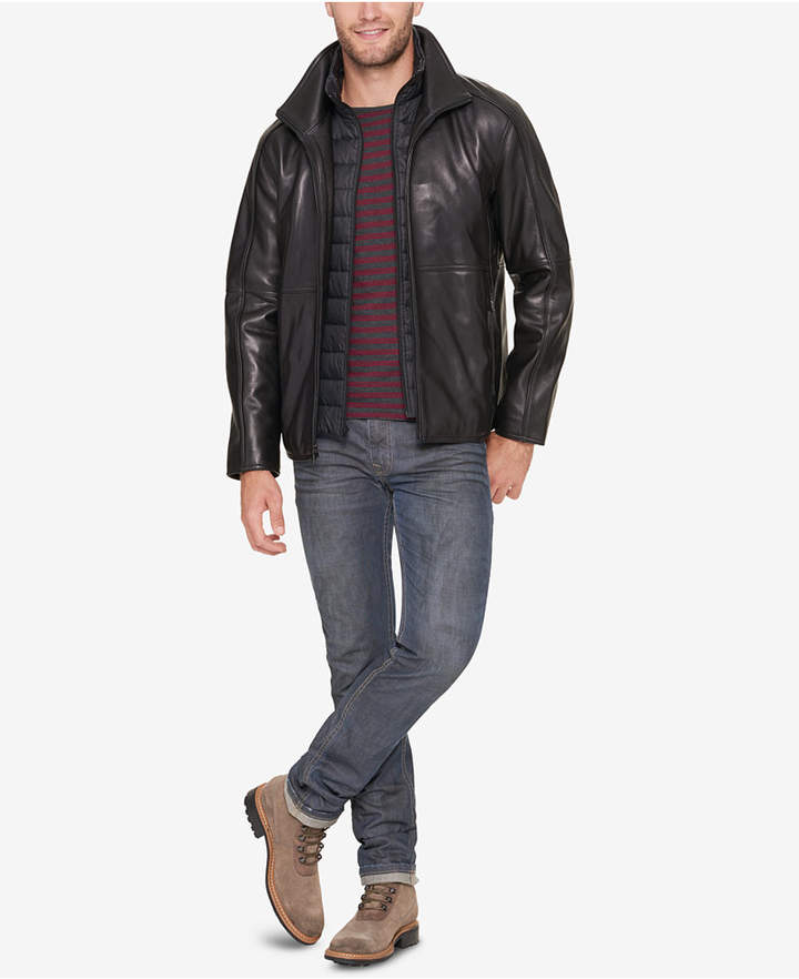 Andrew Marc Men's Leather Jacket with Bib