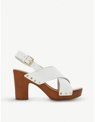 Dune Immi leather wooden platform sandals