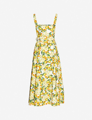 Borgo de Nor Citrus-print semi-sweetheart neckline cotton maxi dress