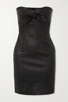 Sprwmn Strapless Knotted Leather Mini Dress - Black