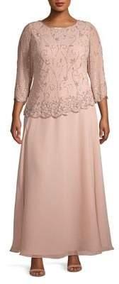 J Kara Plus Asymmetrical Embellished Evening Gown